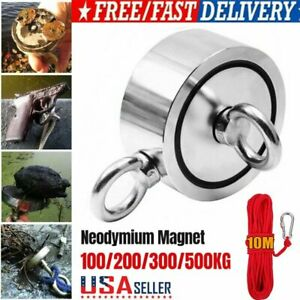 Upto 1100lb Fishing Magnet Kit Strong Neodymium Pull Force Treasure Hunt W Rope