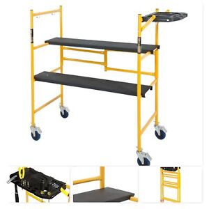 Mini Rolling Scaffold 500 Lb Load Capacity Tool Shelf Ladders Steel Sets Swivel