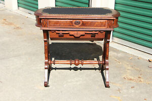 Fancy Walnut Victorian Two Drawer Turtle Top Sewing Writing Table Ca 1870