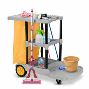 Multi purpose 3 Shelf Cleaning Cart Commercial Janitorial Office House Use