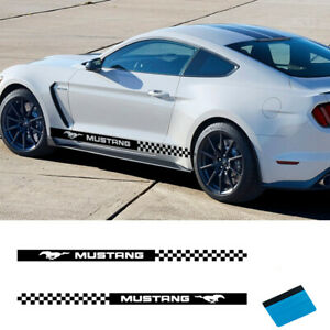 2 Pcs Car Sport Side Stripes Decals Sticker Auto Vinyl Graphics For Ford Mustang