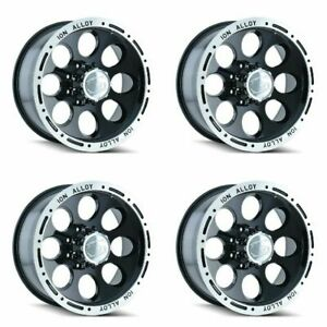Set 4 17 Ion 174 Black Machined Truck Wheels 17x9 6x135 0mm 6 Lug Rims