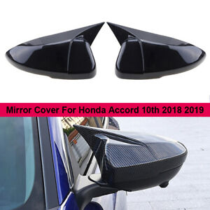 For Honda Accord 2018 Carbon Fiber Black Ox Horn Rear View Mirror Cover Trim