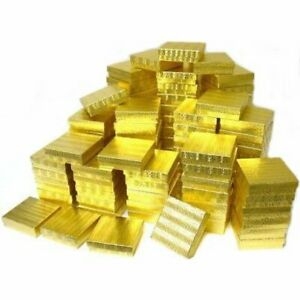 100 Gold Foil Cotton Filled Jewelry Gift Boxes 3 1 2