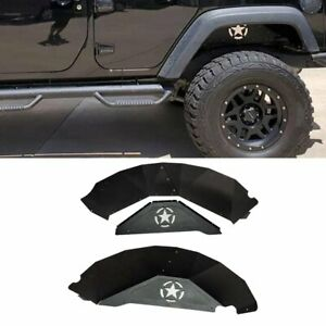 Aluminum Rear Inner Fender Liners Black Protector For Jeep Wrangler Jk 2007 2018