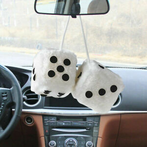 Hang Furry 2 55 1 Pair Mirror Charm Vintage Hanging Car Fuzzy White Dice