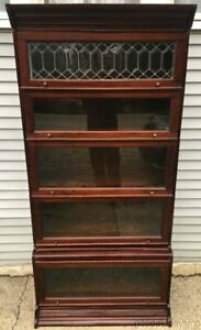 Antique Mahogany Stacking Bookcase W Beveled Leaded Glass Door