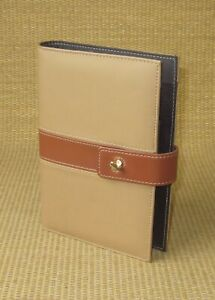 Portable compact Day timer Brown Sim Leather Open Planner binder W Latch