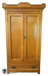 Late Victorian Antique Carved Oak Clothing Armoire Wardrobe Closet 81