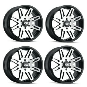 Set 4 20 Ion 142 Black machined Face Truck Wheels 20x9 6x5 5 25mm 6 Lug Rims
