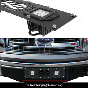 Fits 2009 2014 Ford F 150 Lower Bumper Stainless Black Mesh Led Grille Insert