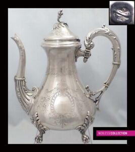 Amazing Antique 1890s French Sterling Silver Coffee Tea Pot 668g Claw And Ball