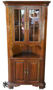 Traditional Walnut Corner Cabinet China Cupboard Shaker Country Style 75