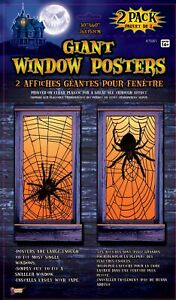 2 Giant Spider Web Window Posters Covers Halloween Party Prop Decoration 30quot;x60quot;