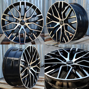 19x8 5 5x112 33 R8 Style Black Machined Rim Wheels Fits Audi A4 A6 A7 S4 S5 Rs5