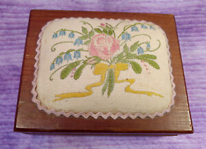 Wooden Dovetail Jewelry Keepsake Sewing Box Floral Embroidery Top Mirror Vintage