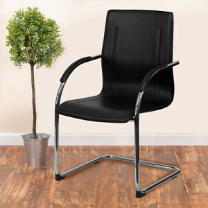 Black Vinyl Side Reception Chair With Chrome Sled Base Lobby And Guest Seating
