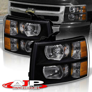 Black Amber Replacement Headlights Lamps For 07 13 Chevy Silverado 1500 2500hd