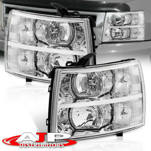 Chrome Clear Replacement Headlights Lamps For 07 13 Chevy Silverado 1500 2500hd