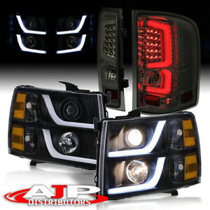 Led Drl Black Amber Headlights Smoked Tube Tail Lights For 2007 2013 Silverado