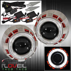 Universal Retrofit Projector Headlight Bi Xenon Dual Ccfl Halo Rings Red White