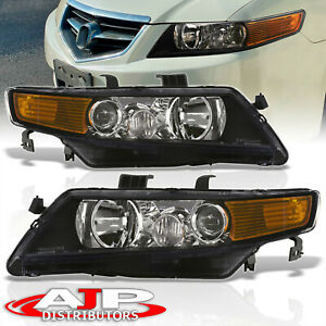 Replacement Black Housing Amber Headlights Lamps Pair For 2004 2008 Acura Tsx