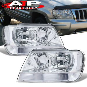 Chrome Clear Replacement Head Lights Lamp Pair For 1999 2004 Jeep Grand Cherokee