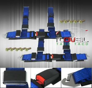 2 Pair Jdm 4 Point Racing Seat Belt Harness Buckle Blue Nylon Quick Strap Lock