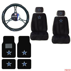 Nfl Dallas Cowboys Car Truck Seat Covers Floor Mats Steering Wheel Cover 9pc Set