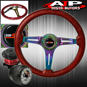 Red Quick Release Metallic Red Neo Chrome Steering Wheel For 1990 1993 Integra