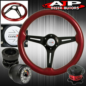 Extender Red Quick Release Red Wood Trim Steering Wheel For 90 93 Integra