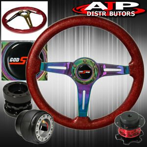 Extender Quick Release For 90 93 Integra Spec Red Wood Neo Chrome Steering Wheel
