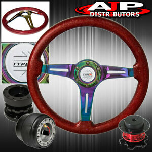 For 94 01 Integra Spec Red Wood Neo Chrome Steering Wheel Extender Quick Release