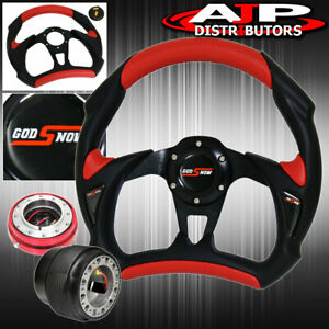 For 89 05 Eclipse Black red Battlestyle Steering Wheel Red Slim Quick Release