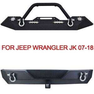 Front Rear Bumper Combo Winch Plate Led Lights Winch For 07 18 Jeep Wrangler Jk