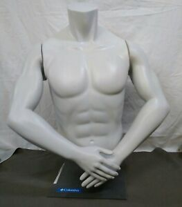Mannequin Table Top Display Grey Male Upper Torso With Magnetized Arms