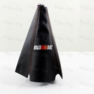 Shift Knob Shifter Boot Cover Mt At Jdm Ralliart Pvc Leather Black Red Stitch