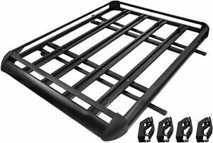 64 Universal Black Roof Rack Cargo Carrier W Extension Luggage Hold Basket Suv