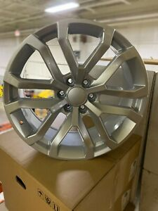 4 New 2019 Chevy Silverado Wheels Oe Replica 22x9 Silver Machined Chevrolet Gmc