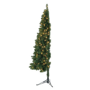 Home Heritage 7 Ft Pre Lit Artificial Half Christmas Tree with Folding Stand