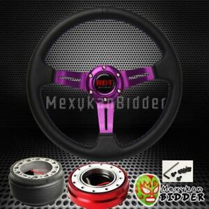 Purple Deep Dish Steering Wheel Red Quick Release For Honda Civic 1988 1991 Ef