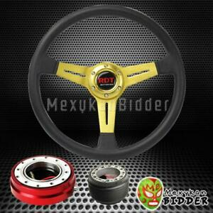 14 Gold Flat Steering Wheel Red Quick Release Hub For Honda Accord 90 93