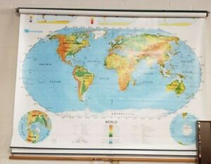 Vtg Nystrom Pull Down Wall Map United States World School Classroom 4 Layers