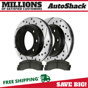 Front Drilled Slotted Brake Rotors Ceramic Pads For 2000 2005 Ford Excursion 4wd