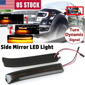2x Mirror Led Side Lights Turn Signal Lamps Reflector Black For Ford F150 09 14