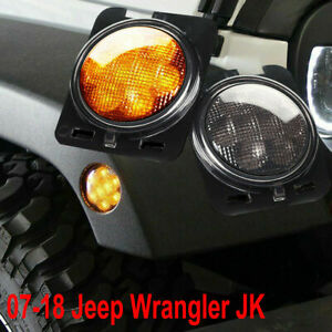 Led Side Marker Fender Lights Smoked Lens For Jeep Wrangler Jk 2007 2018