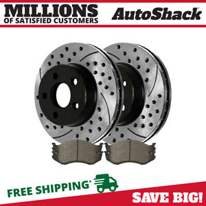 Front Drilled Slotted Brake Rotors And Ceramic Pads For 2000 2006 Jeep Wrangler