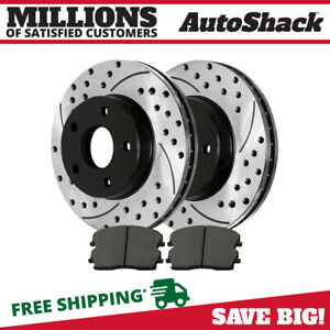 Front Drilled Slotted Rotors Ceramic Pads For 2006 2007 Dodge Charger