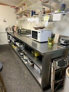 Stainless Steel Table Used Enclosed On 3 Sides 2 Lower Fixed Shelved 14 x30