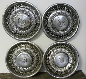 Oem 15 Wire Type Hub Caps Wheel Covers 1617750 1617758 1979 80 Cadillac w47